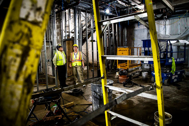 Ron Gilgenbach, Chihiro Kikuchi Collegiate Professor and Chair of the Nuclear Engineering and Radiological Sciences Department, and Robert Blackburn, Facilities Coordinator/Manager, tour the Nuclear Engineering Laboratory while it is under construction on North Campus of the University of Michigan in Ann Arbor, MI on August 16. 2016.   Photo: Joseph Xu/Multimedia Content Producer, University of Michigan - College of Engineering