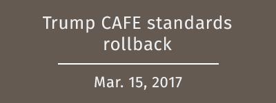 Trump rollbacks on CAFE standards