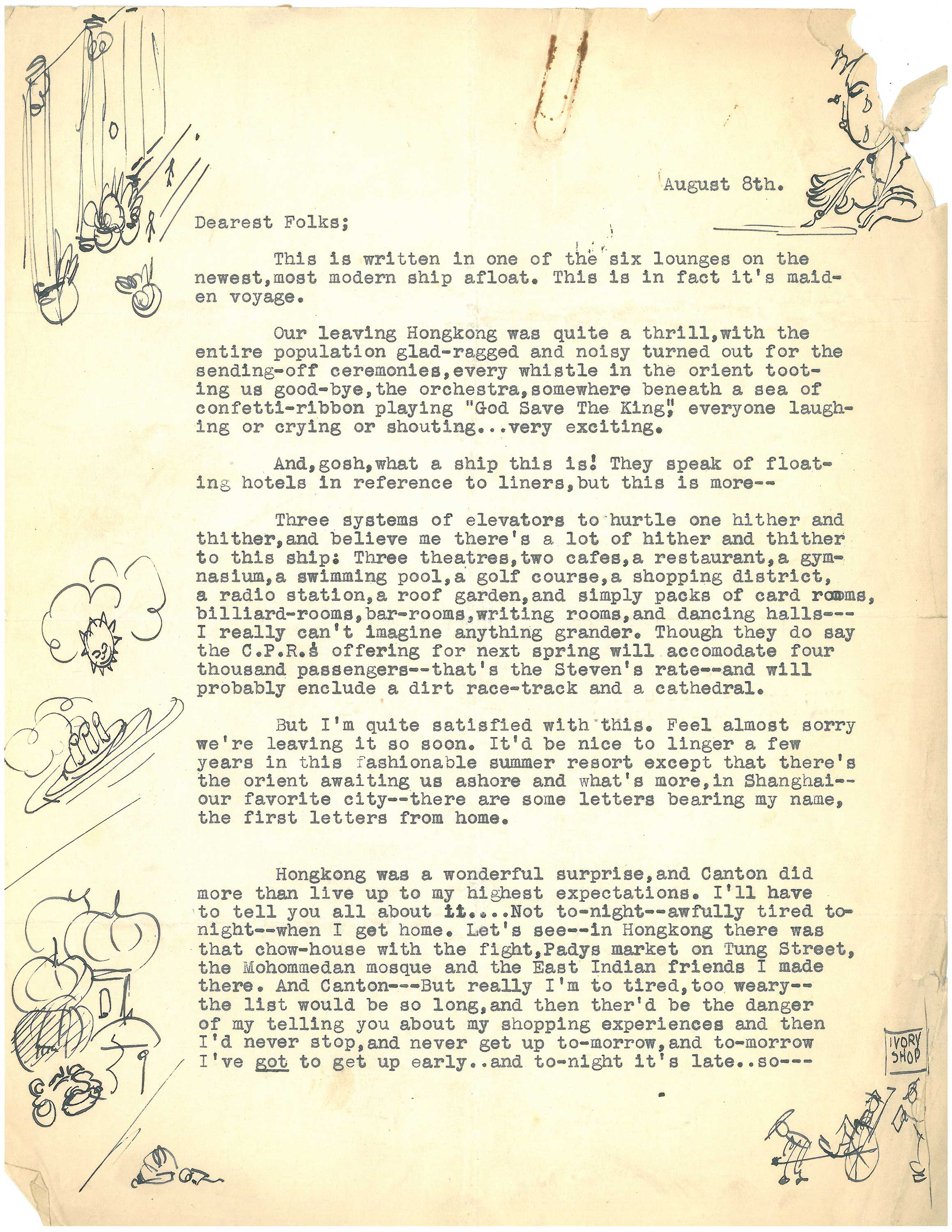 "A letter dated August 8, 1930 from Welles to his beloved friend Dr. Maurice Bernstein, whom he called ""Dada."" Welles recounts a recent visit to Hong Kong through words and sketches. Image courtesy: University of Michigan Library, Special Collections"