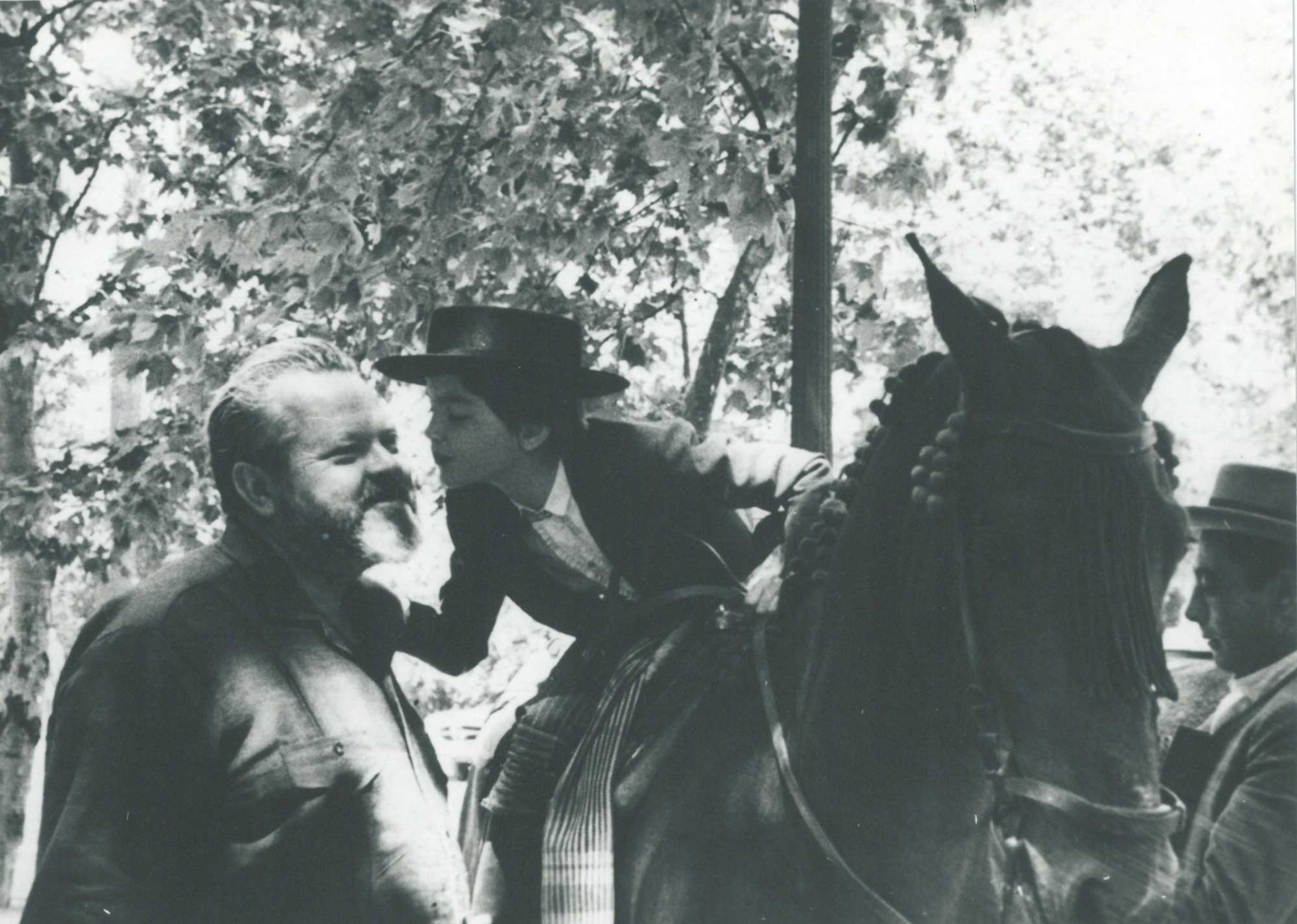 Beatrice Welles and her father, Orson Welles, at the Feria de Sevilla, Spain in April 1964 (Agencia Gráfica Prensa Lara, Madrid). Image courtesy: University of Michigan Library, Special Collections