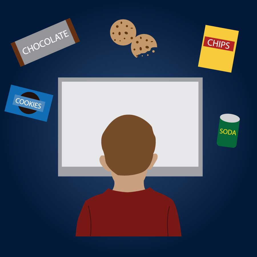 Illustration of a child looking at a screen surrounded by snacks.