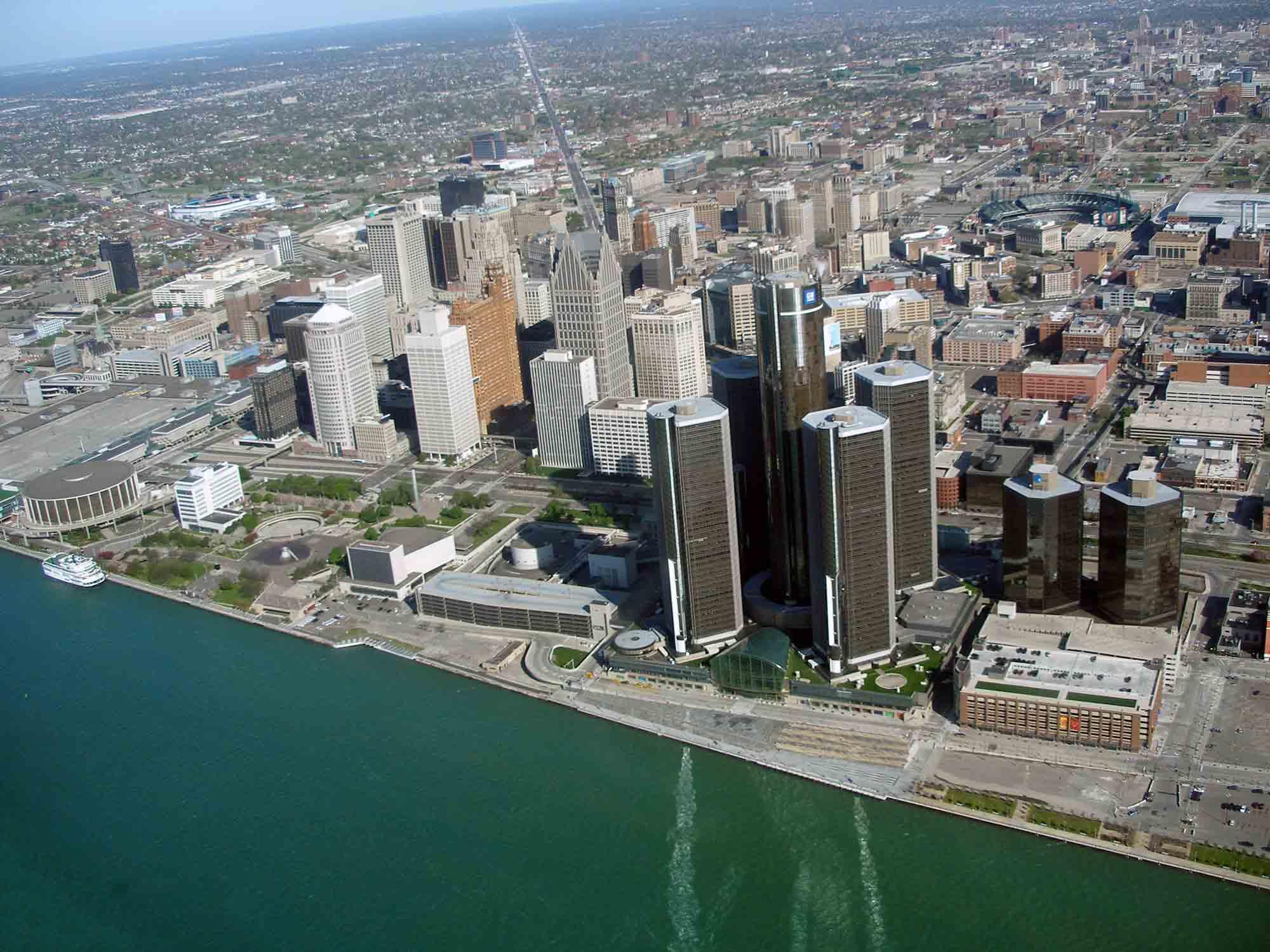 Detroit Riverfront. Image credit: Mary Bohling, Michigan Sea Grant