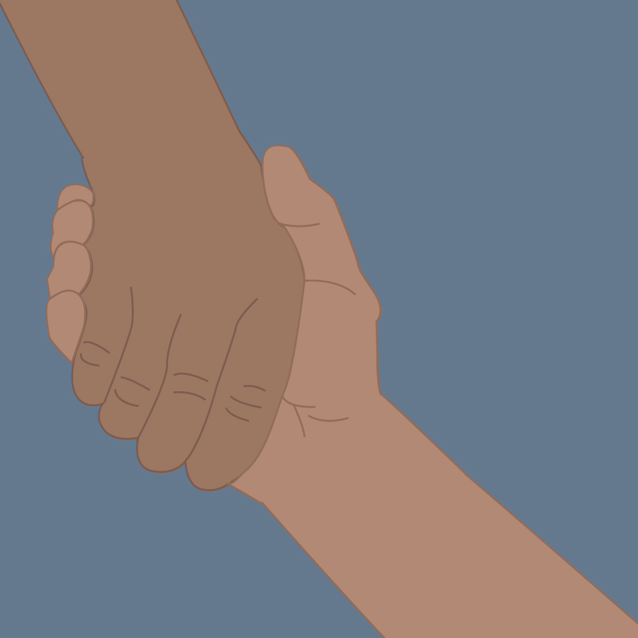 Illustration of holding hands.