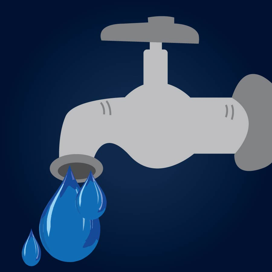 Illustration of a dripping water tap.