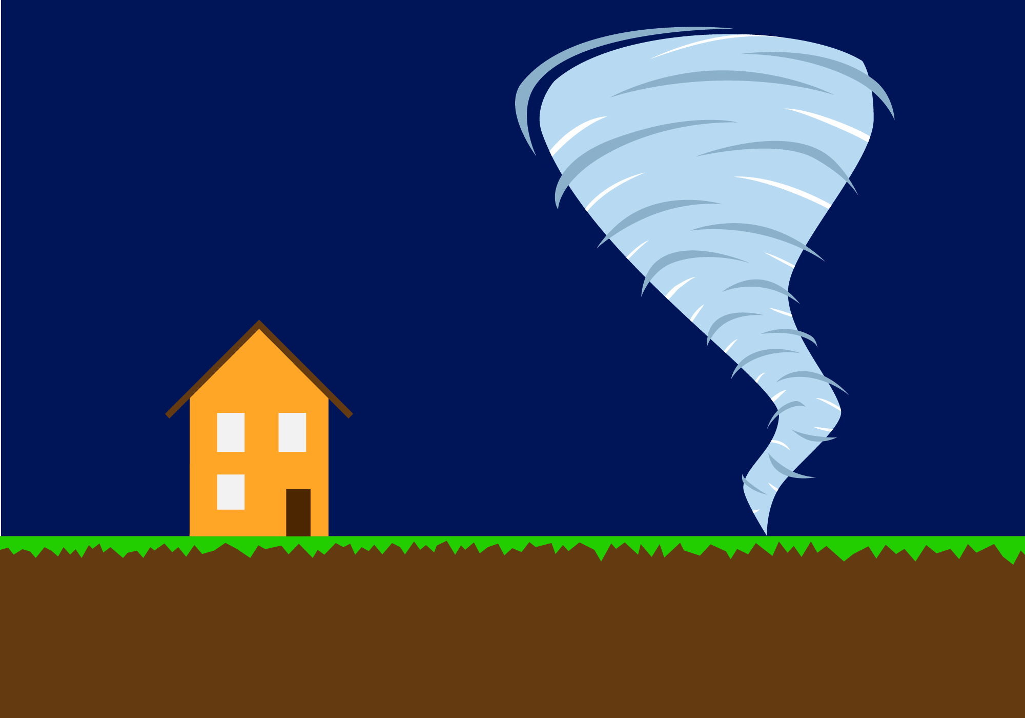 Illustration of a tornado approaching a home. Image Credit: Nathanael Rieger