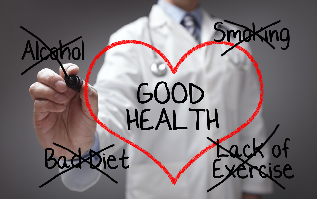 Picture of a doctor emphasizing good health