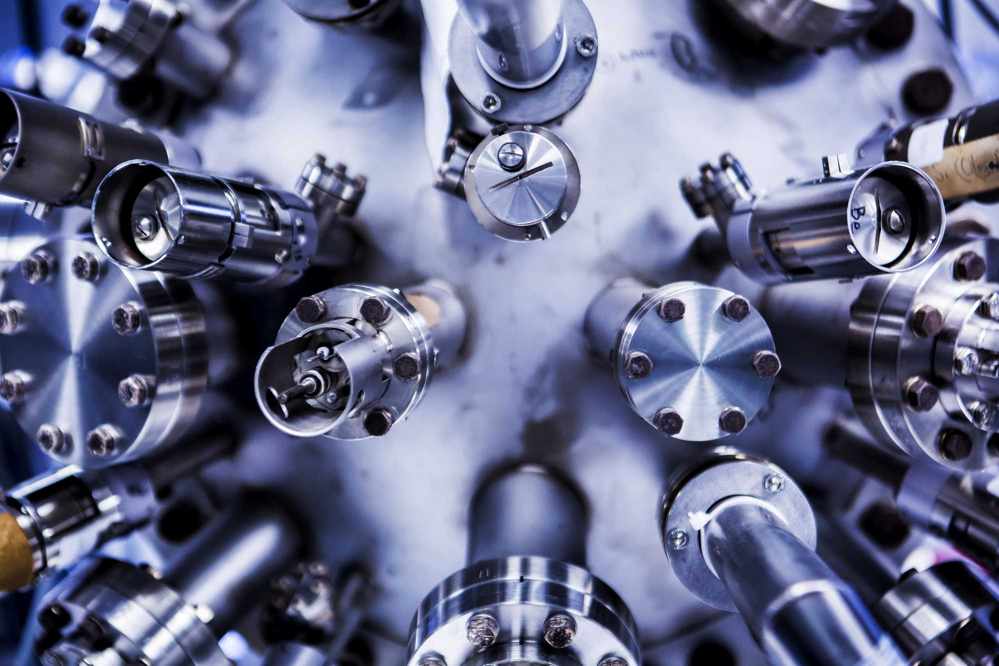 The main growth chamber of the molecular epitaxy beam apparatus used to make the nanoparticle-infused gallium nitride semiconductors. The semiconductors could boost LED efficiency by up to 50 percent, and even lead to invisibility cloaking devices. Image credit: Joseph Xu, Michigan Engineering