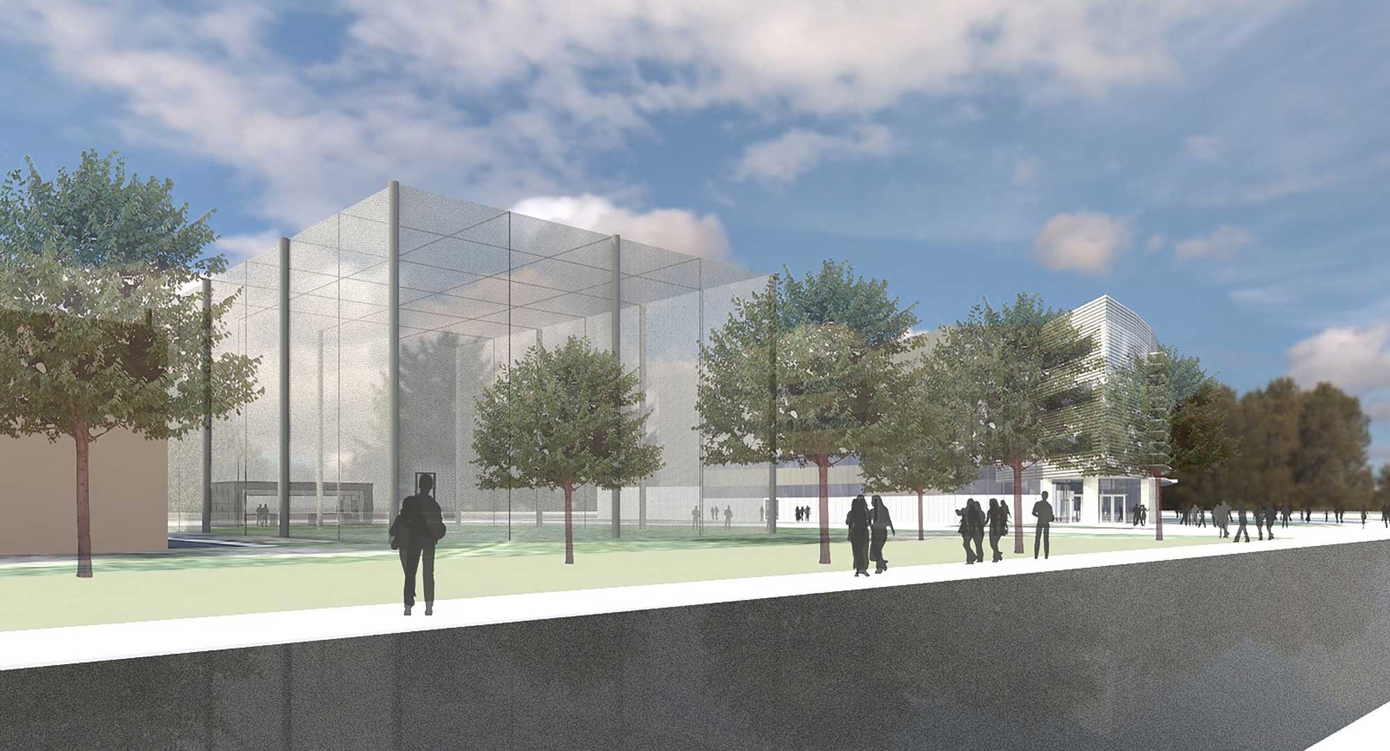 A rendering of the eastward-looking view of M-Air, a netted facility for safely testing drones outside. Construction will begin in August 2017 at the corner of Hayward and Draper on the University of Michigan's North Campus. Image credit: Architect and engineering firm Harley Ellis Devereaux