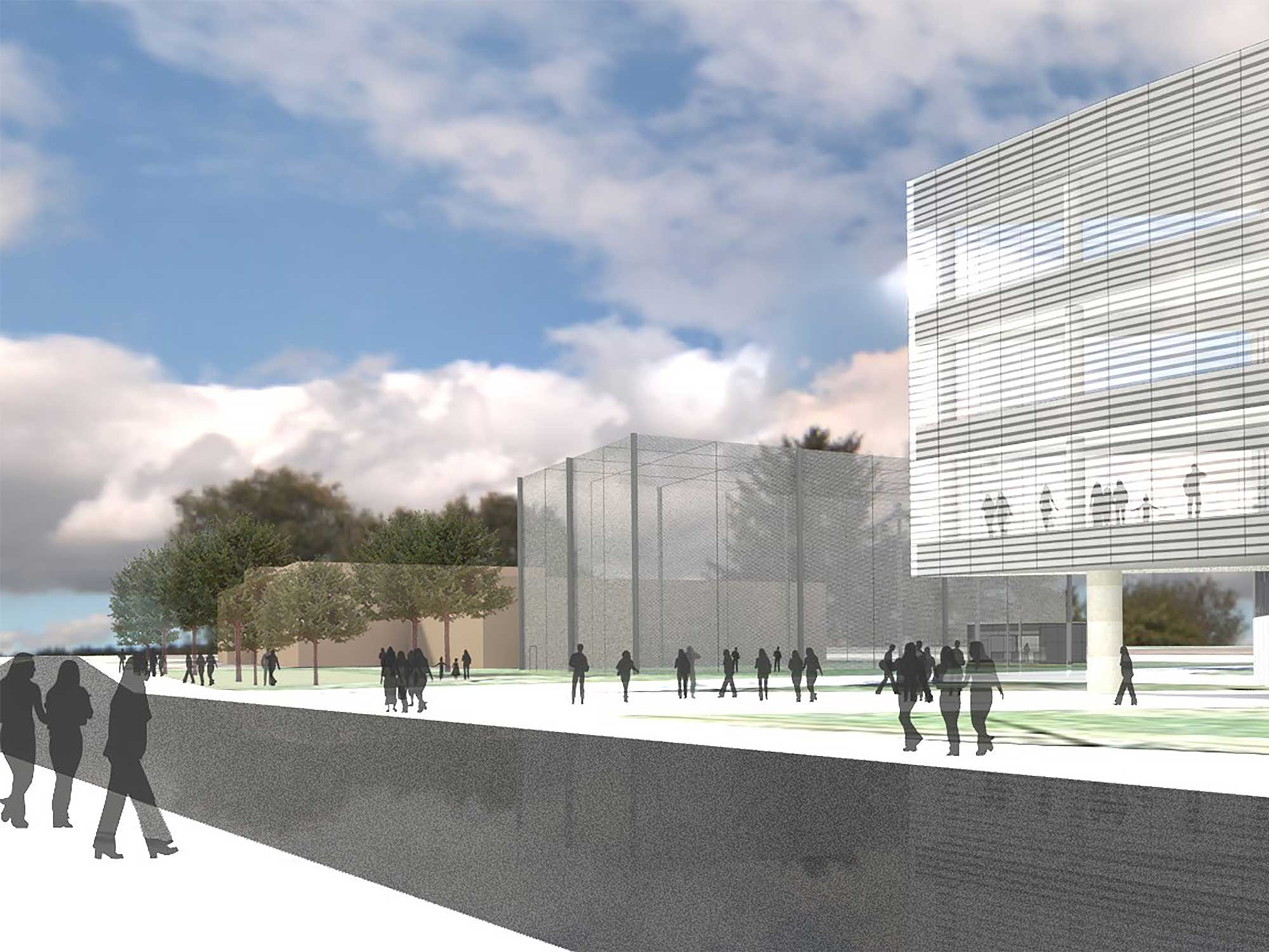 A rendering of the westward-looking view of the M-Air outdoor, netted facility for testing autonomous aerial vehicles. It will be situated between the planned Ford Motor Company Robotics Building and the existing Space Research Building on Hayward Street on the University of Michigan's North Campus. Image credit: Architect and engineering firm Harley Ellis Devereaux