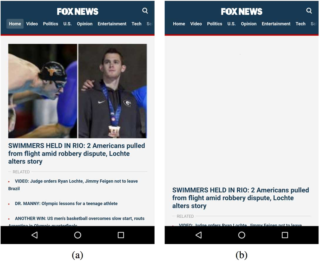 For the Fox News mobile site, (a) rendering of the above the fold content completes at 9.26s with VROOM; (b) with only HTTP/2 enabled, rendering is incomplete at that time and completes only later at 13.87s.