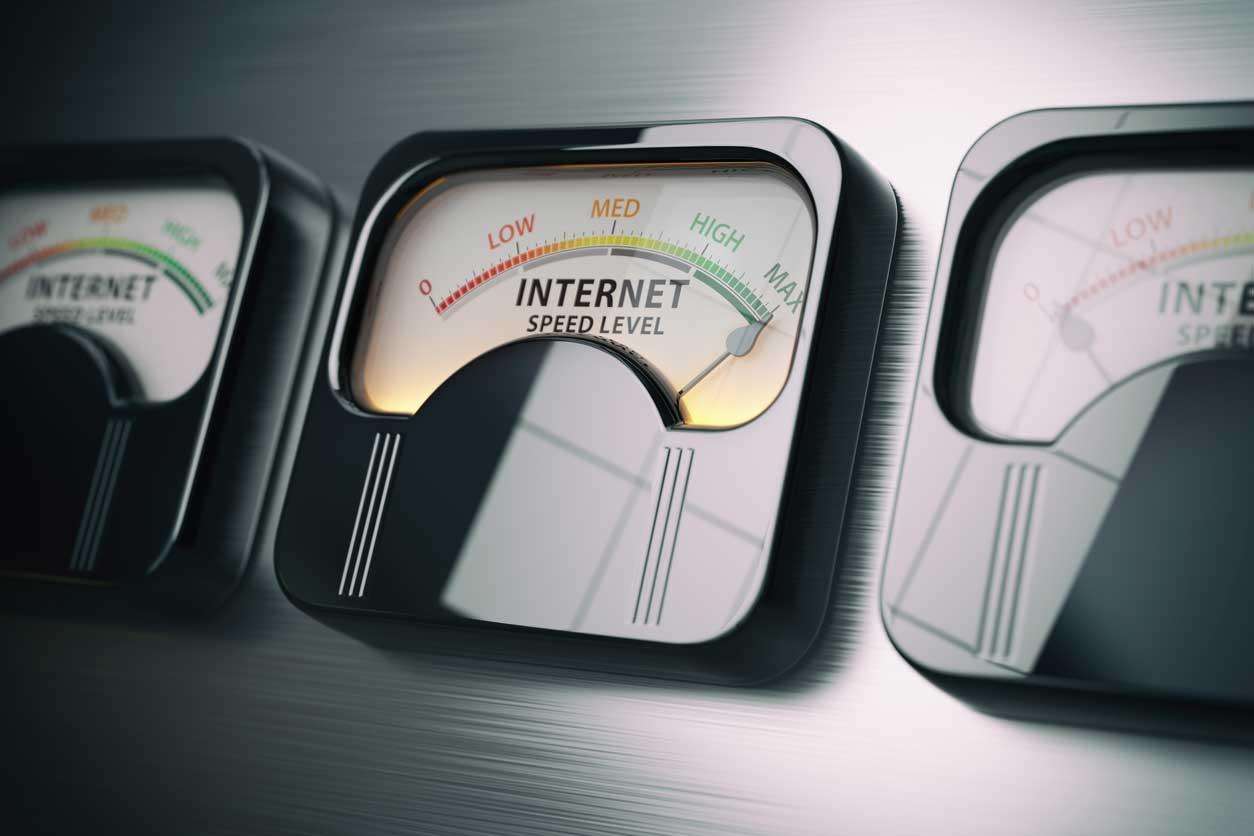Internet speed level test concept. Maximum position. (iStock image)