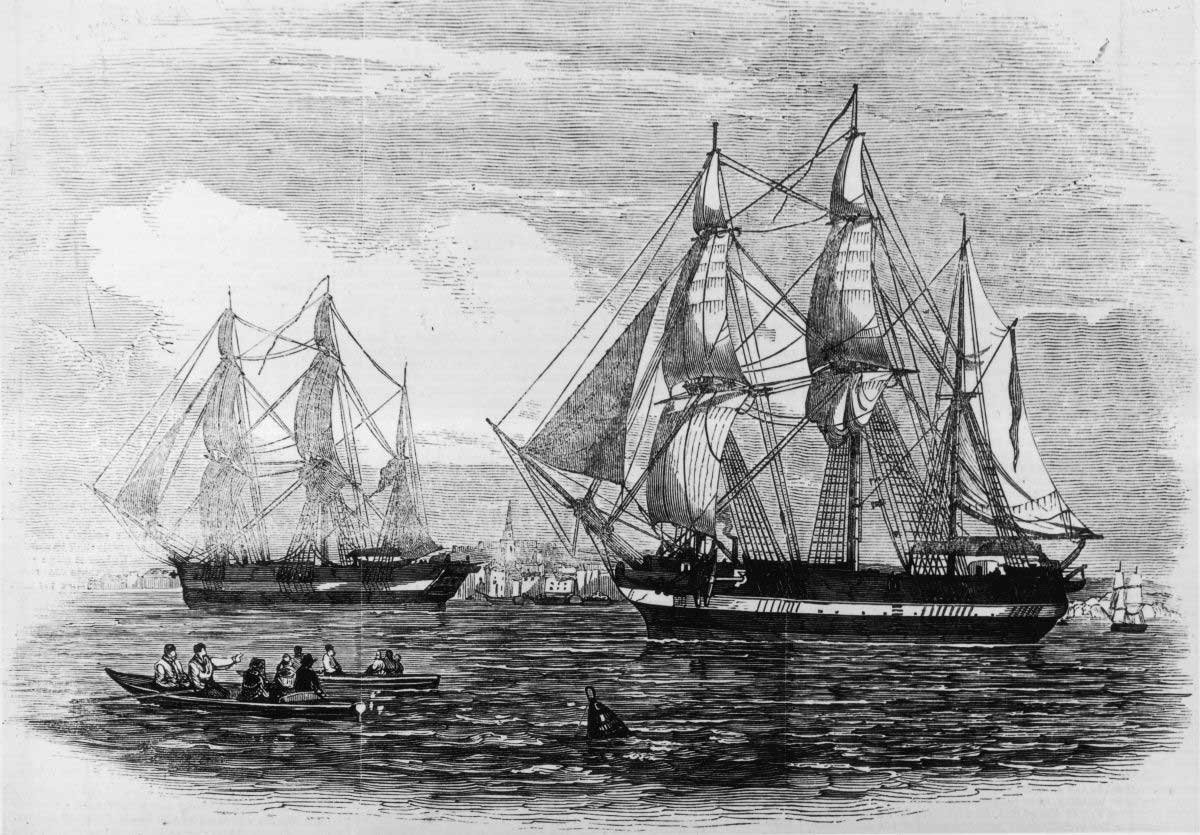 HMS Erebus and Terror. Image credit: Illustrated London News