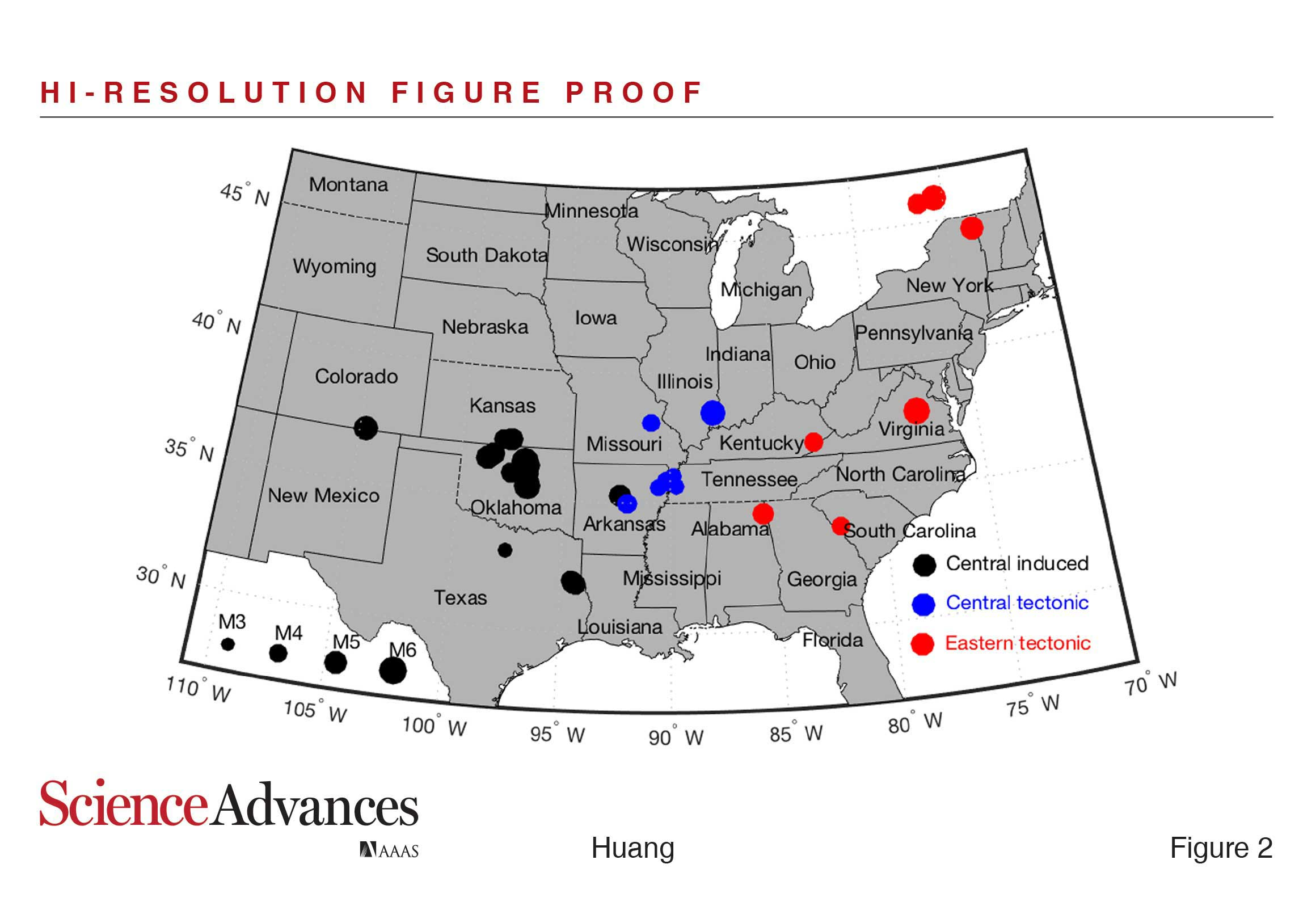 Locations of earthquakes analyzed in the study led by U-M seismologist Yihe Huang. Image credit: Huang, Ellsworth, Beroza, Science Advances 2017