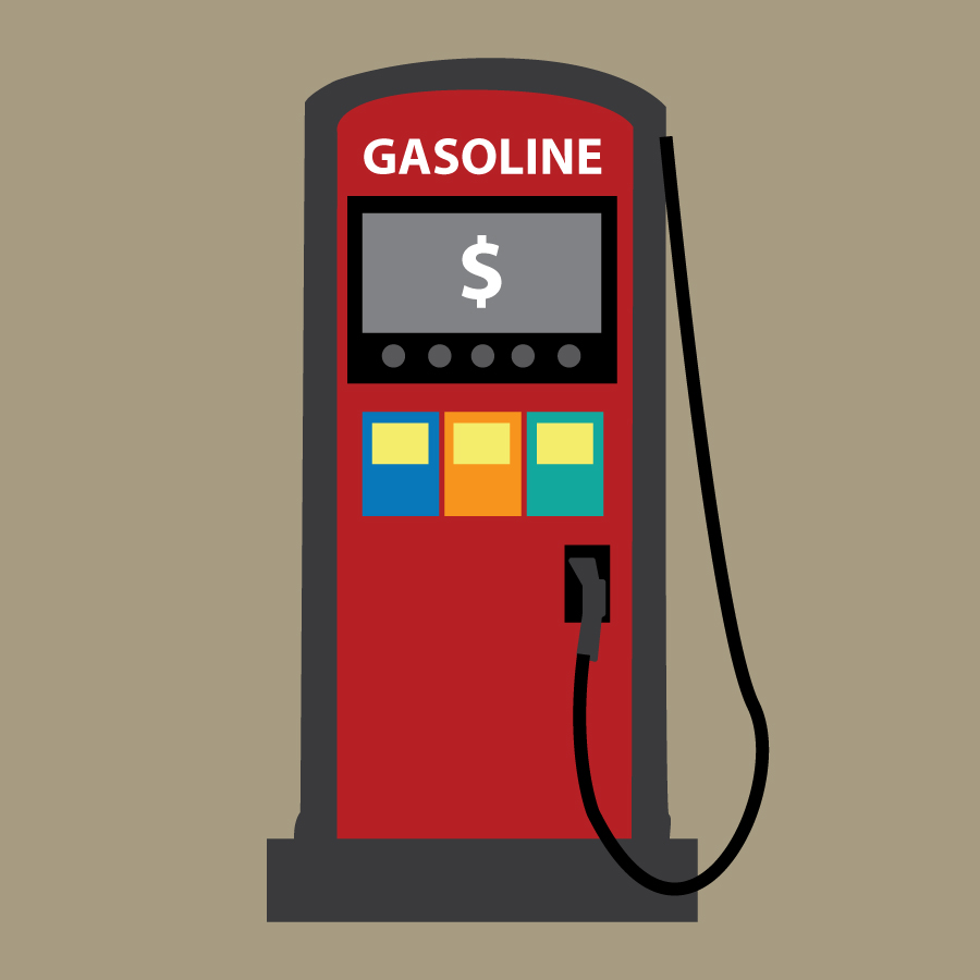 Illustration of a gasoline pump, by Katie Beukema
