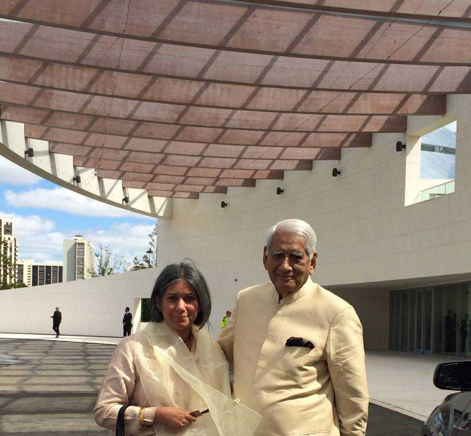 Nondita Correa Mehrotra and Charles Correa at the opening of Ismaili Center in Toronto, a  building designed by them. (2014) Image credit: Farrah Punja