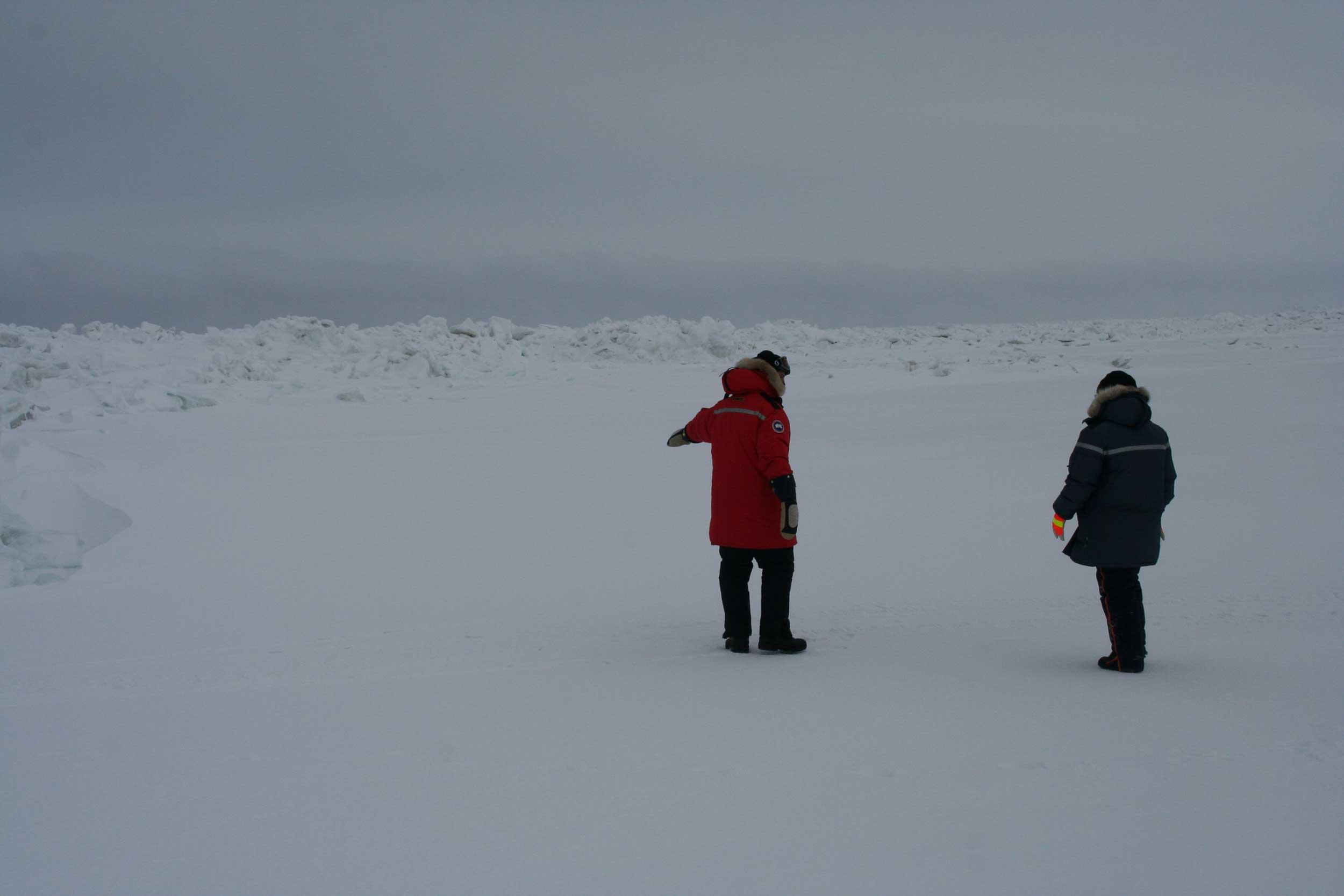 Graduate students Kyle Custard and Angela Raso exploring the Arctic sea ice. Image credit: Kerri Pratt
