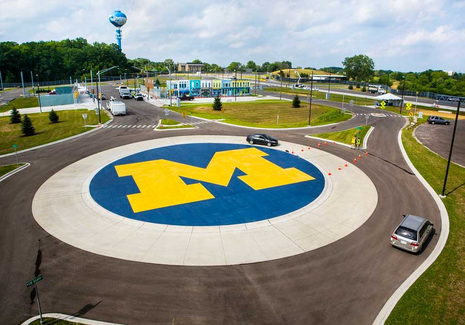 Arial view of the MCity test track. Image credit: Michigan Photography