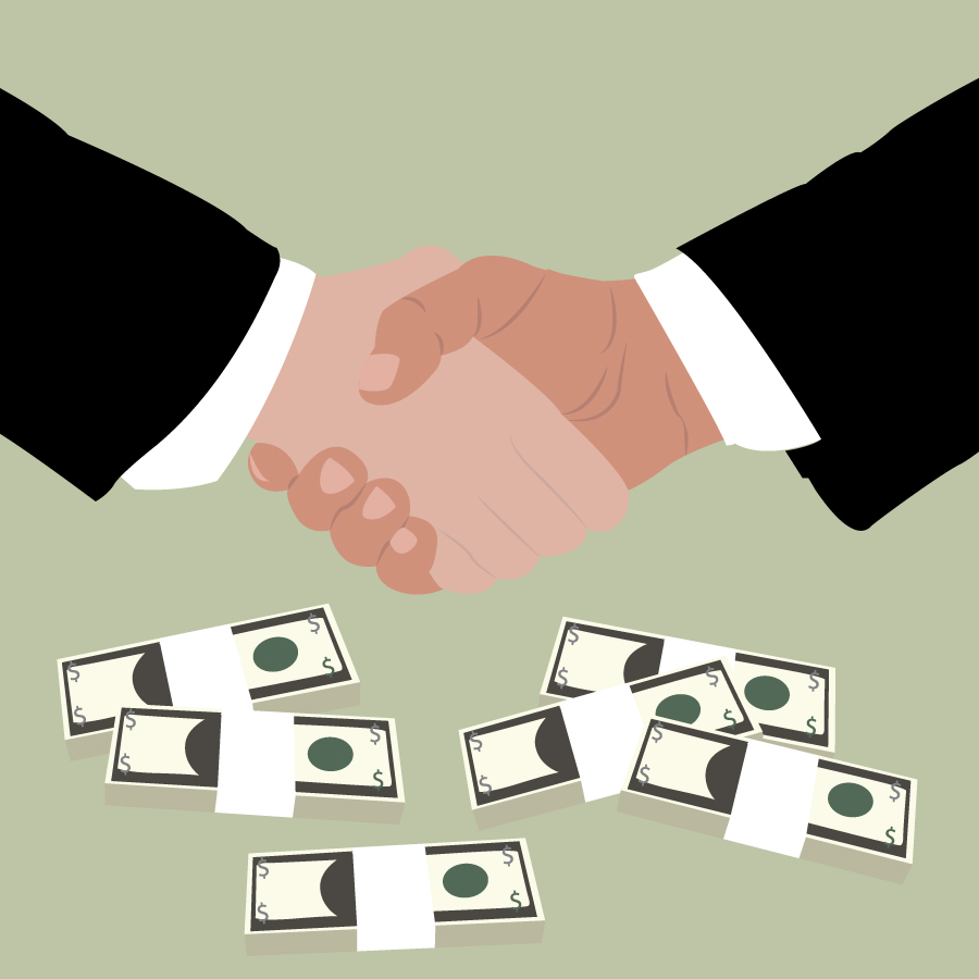 Illustration of handshake with stacks of money surrounding, illustrated by Katie Beukema