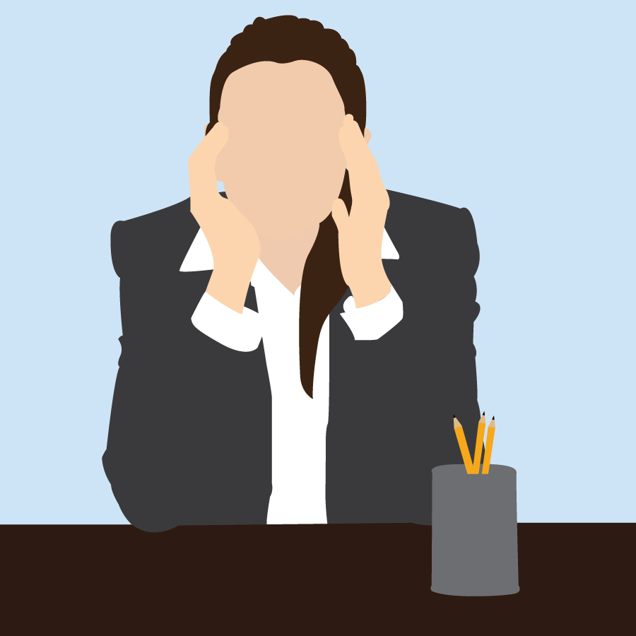 Illustration of a women stressed at work, by Katie Beukema