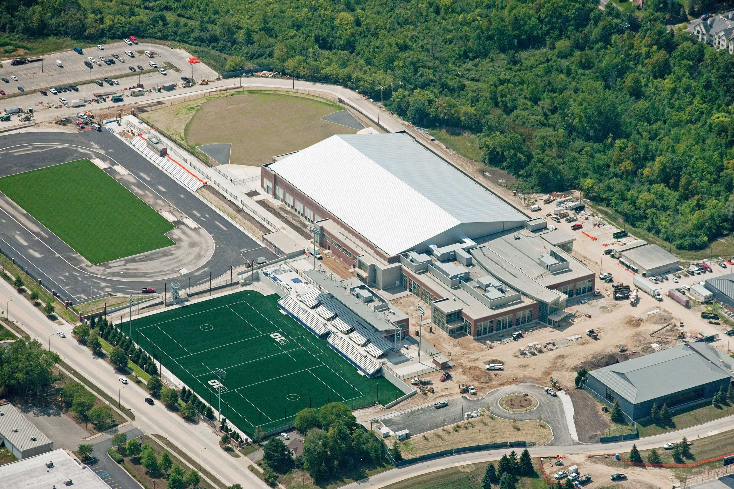 An aerial view of the Stephen M. Ross Athletic Campus, expected to open in 2018, will be utilized by 900-plus student athletes in all sports.