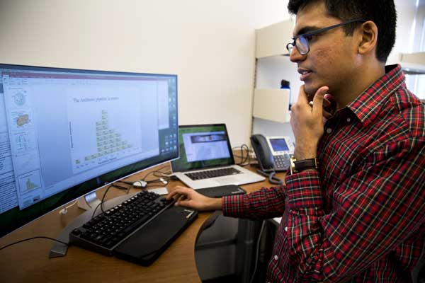 Sriram Chandrasekaran evaluates research on his computer. Image credit: Joseph Xu, College of Engineering