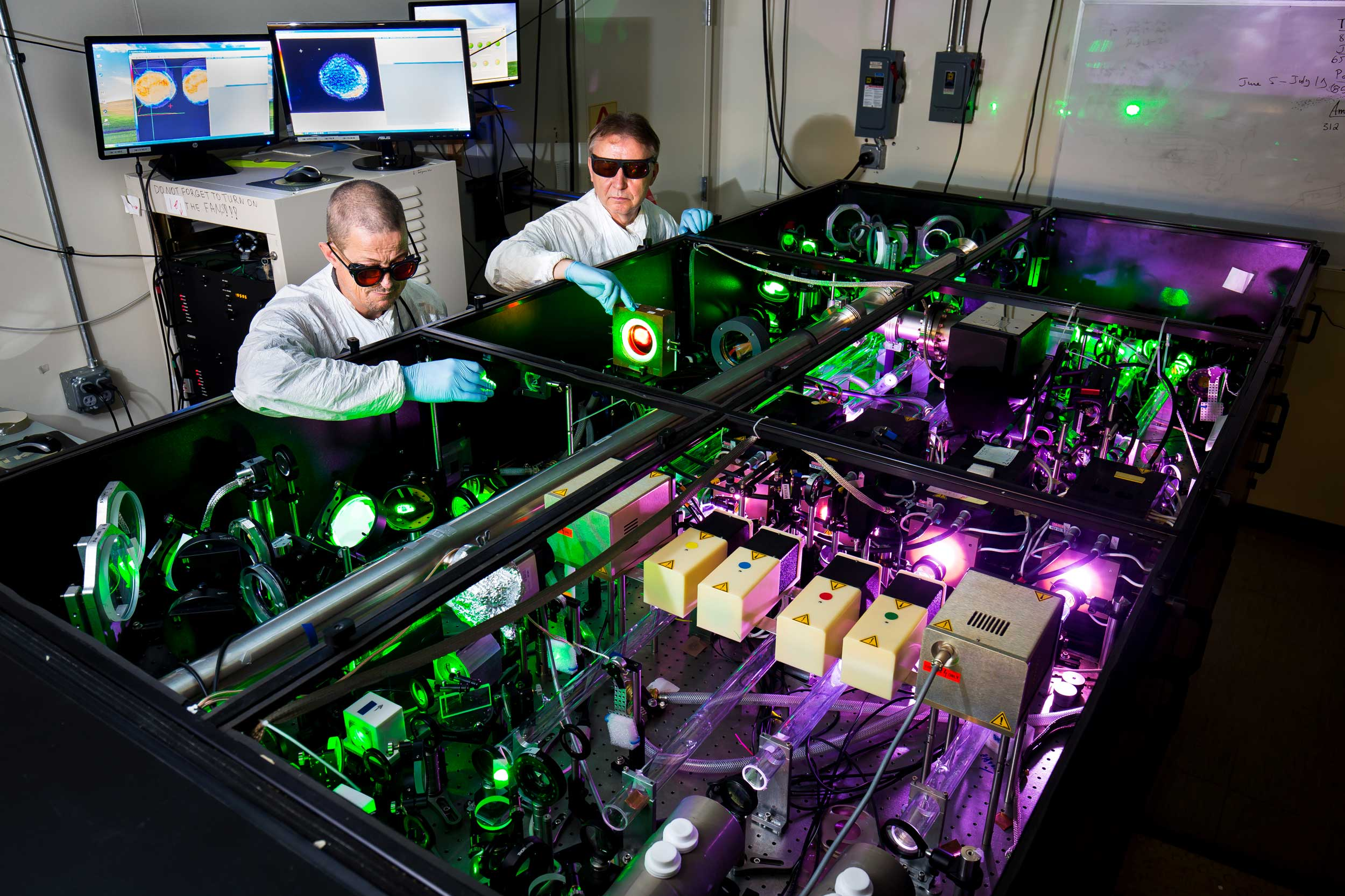 The HERCULES laser holds the Guinness World Records certificate for highest intensity focused laser, and it is about to get more powerful and intense with a $2M upgrade from the National Science Foundation. Image credit: Joseph Xu, Michigan Engineering