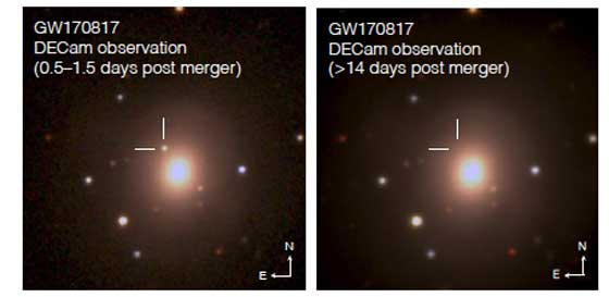 The two optical images from the Dark Energy Camera show the resulting transient kilonova source near galaxy NGC 4993 at first detection and its absence after rapidly fading (kilonova location marked by the reticle). Image courtesy: Fermilab