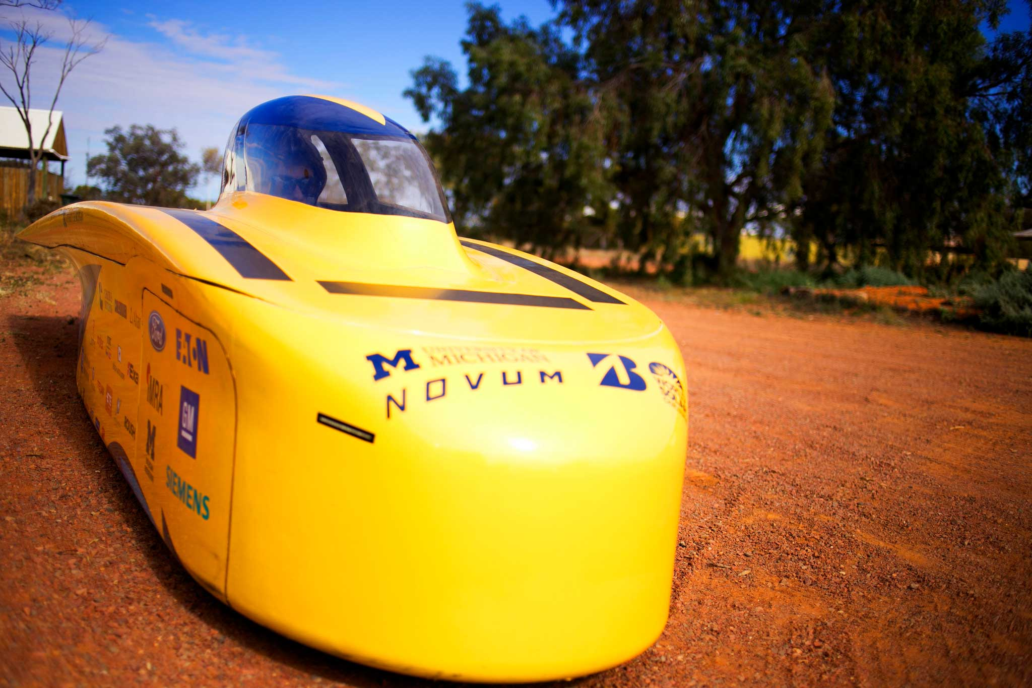 U-M's car, named Novum, measures just over one meter across. It's one of the skinniest vehicle competing in this year's challenger class. Novum is roughly 43 percent narrower than the team's 2015 vehicle, Aurum. Image credit: Akhil Kantipuly
