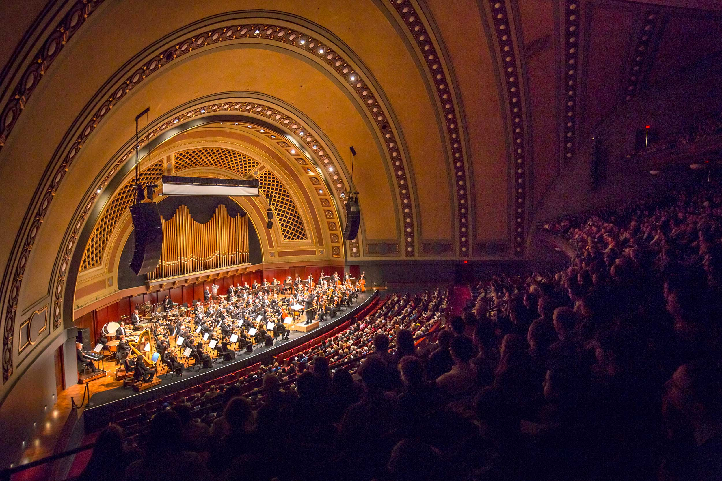 The New York Philharmonic performed at the University of Michigan's  Hill  Auditorium in  November 2017 for the first of a five - year - long  orchestral residency  with the University Musical Society (UMS). Image credit: Chris Lee