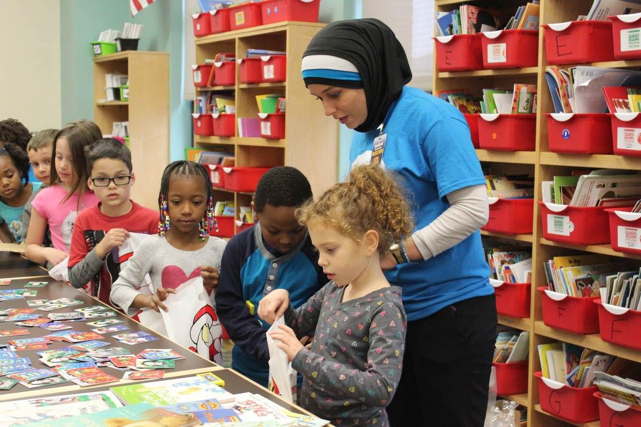 Jawad working with school children.