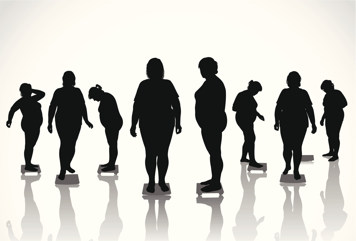 Sillouettes of obese people. (stock image)