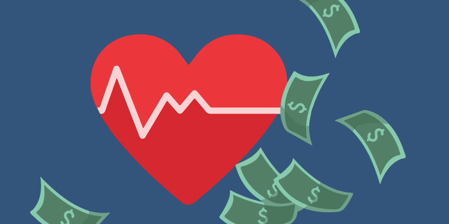 Illustration of a heart and money