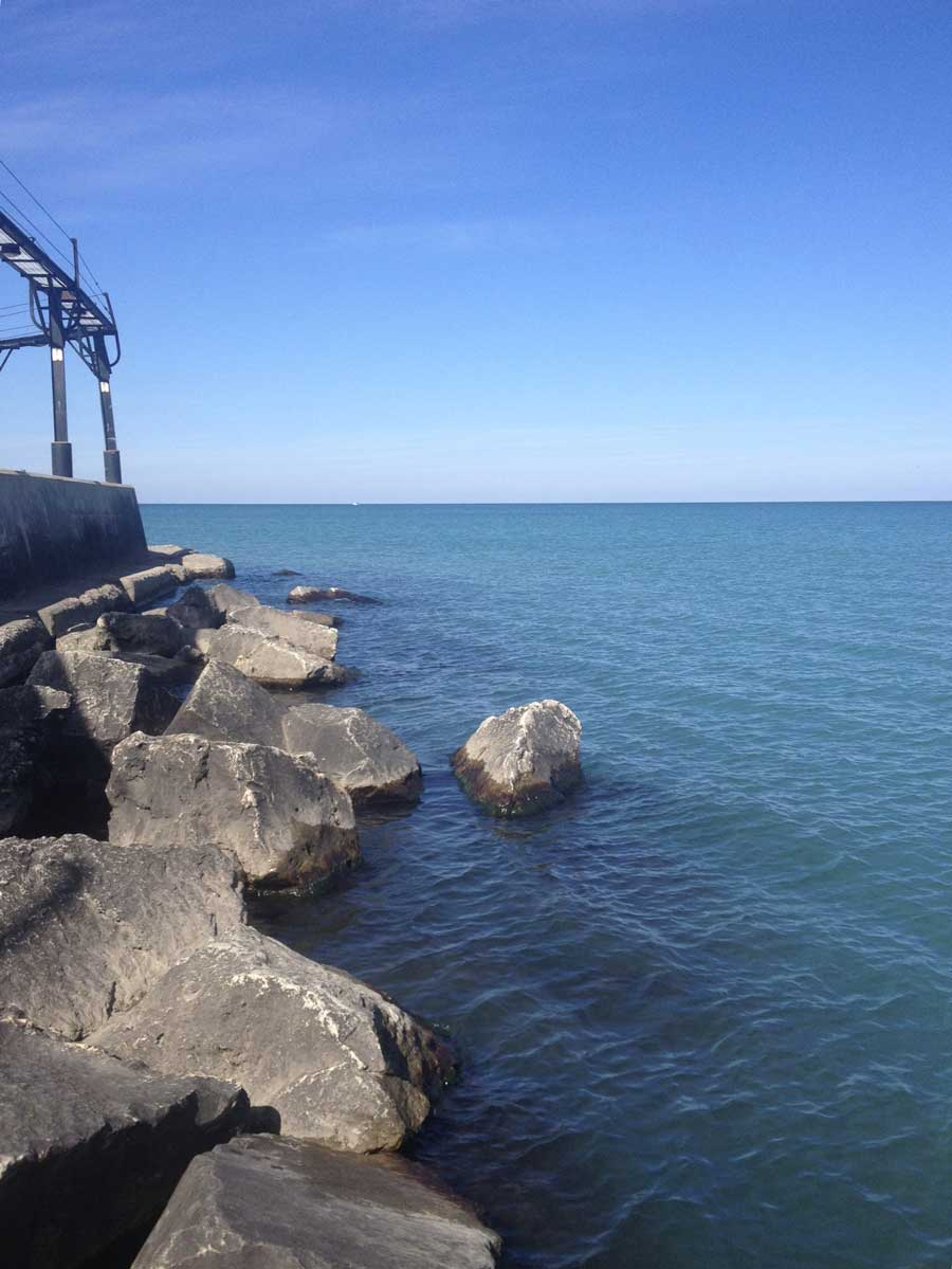 The Lake Michigan freshwater sampling site in Michigan City, Indiana, shows low concentrations of blue-green algae—7 parts per billion. The clear, blue waters of Lake Michigan are a stark contrast to the bloom-afflicted waters of Lake Erie. Image credit: Nathaniel May