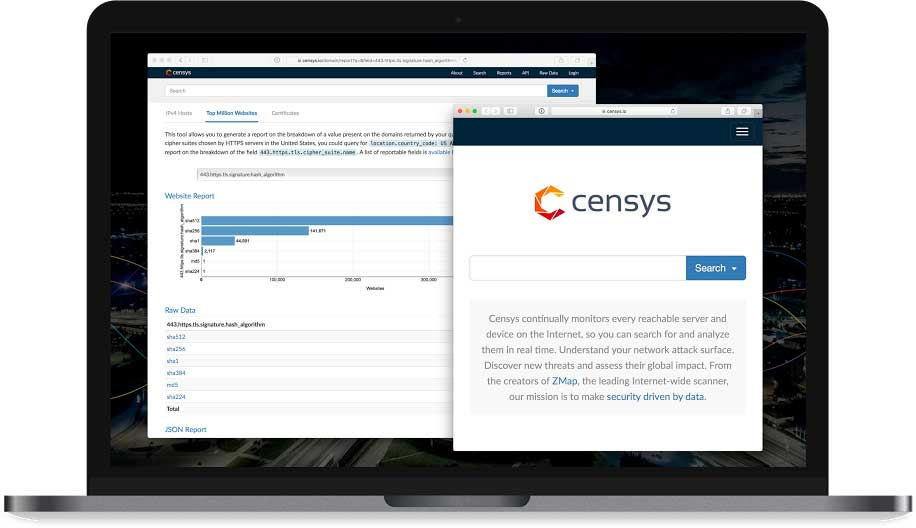 Screenshots of the Censys homepage and of a report generated with the tool. Image courtesy: Censys