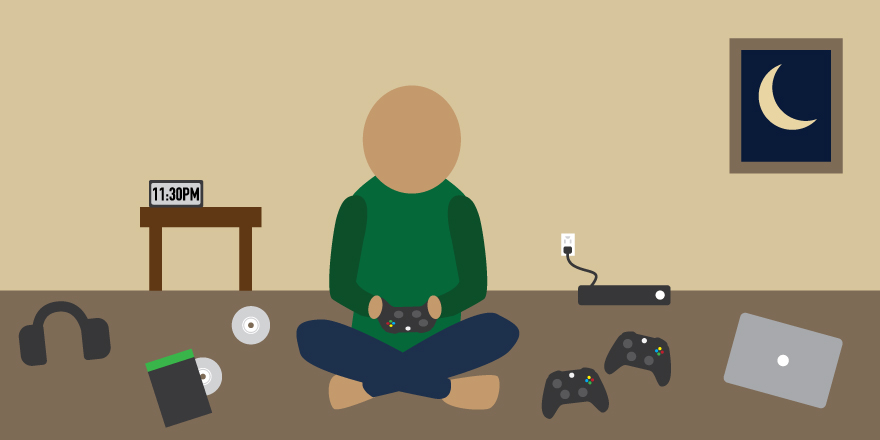 Concept illustration of a young adult playing video games at night. Image credit: Kaitlyn Beukema