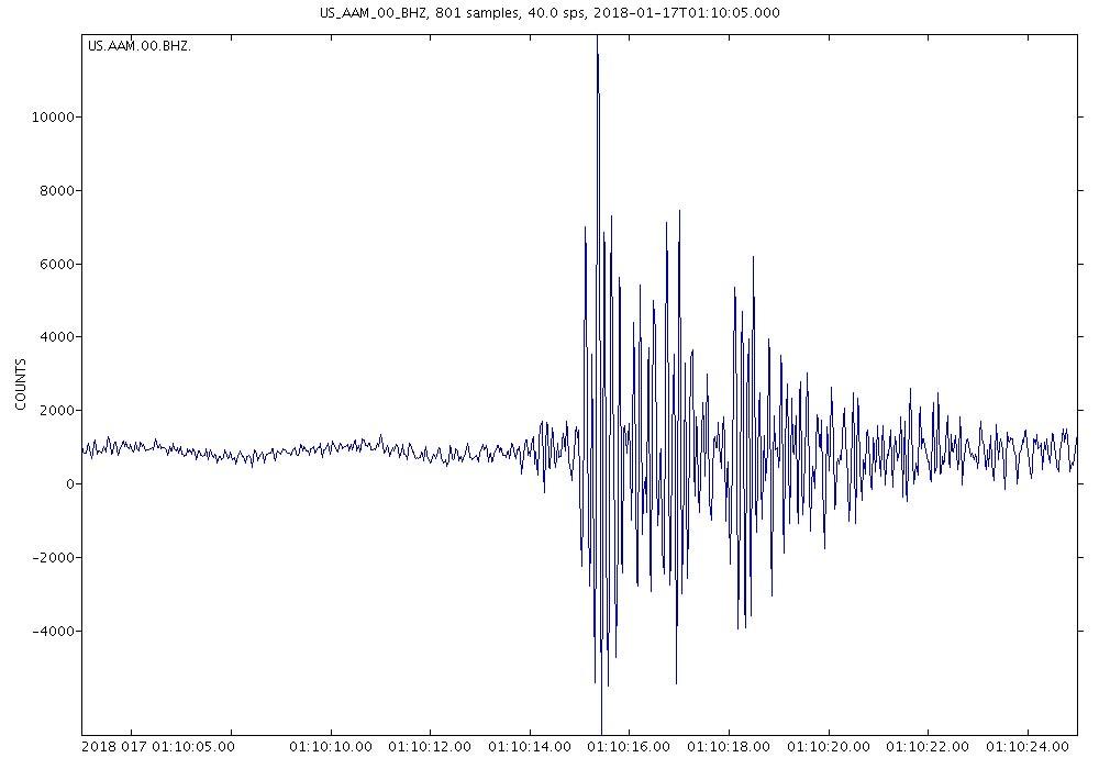 Seismogram of Jan. 16, 2018, meteor recorded at the University of Michigan.