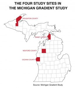The four study sites in the Michigan Gradient Study. Source: Michigan Gradient Study.
