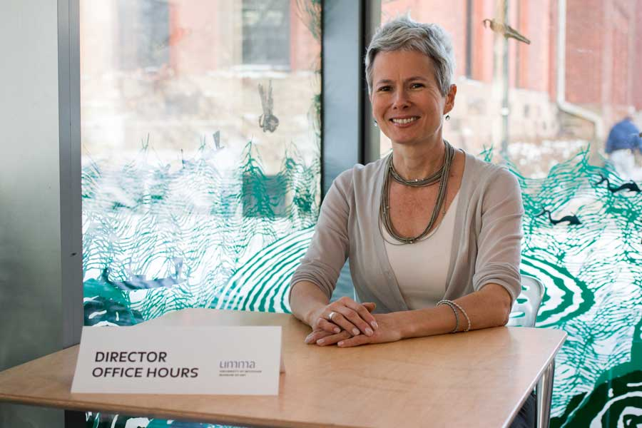 Director of the University of Michigan Museum of Art Christina Olsen holds office hours inside the UMMA Commons. Image courtesy: UMMA