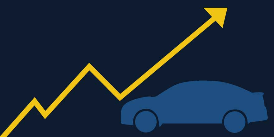 Car symbol on top of a graph line going upward, created by Katie Beukema