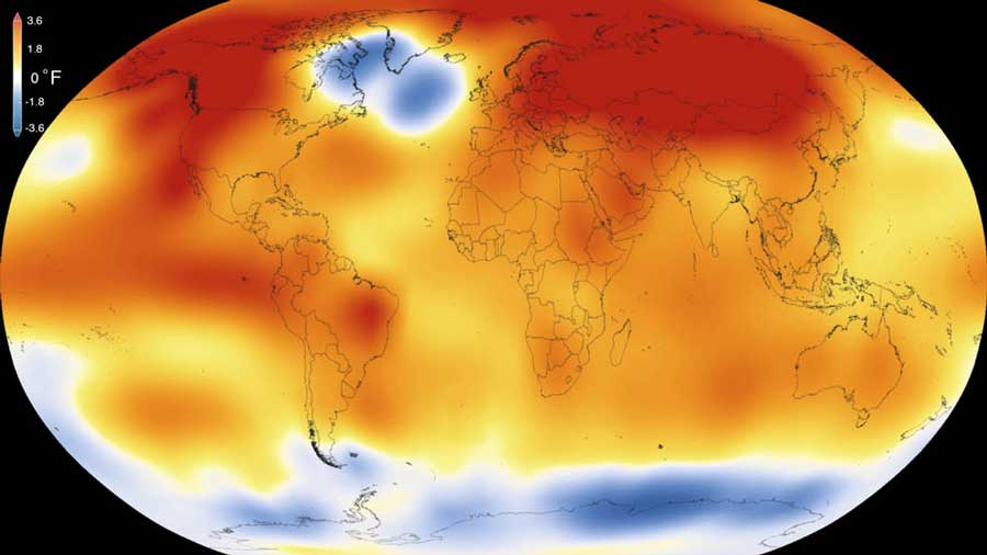 New research shows that natural variability in the climate system is not sufficient to explain the planet's 2014-2016 temperature increase. Image shows 2015 temperatures. Image credit: Scientific Visualization Studio/Goddard Space Flight Center