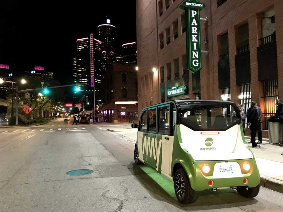 Driverless shuttle in Detroit, Michigan. Image courtesy: May Mobility