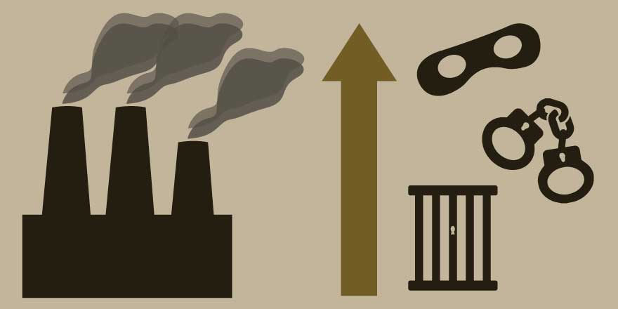 Factory creating pollution with symbols of crime next to an upward arrow, signifying increase in crime. Image Credit: Katie Beukema