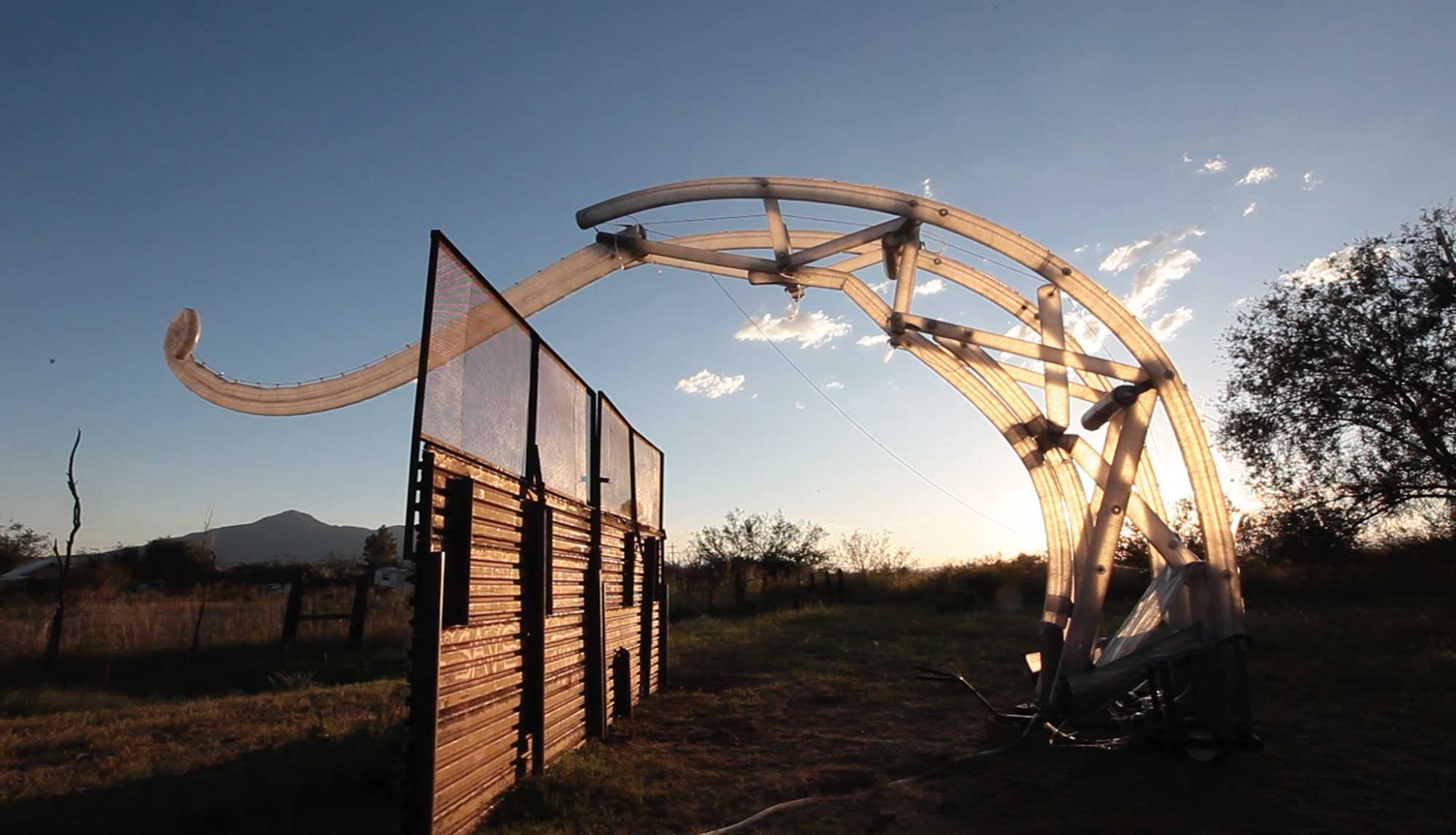 """In 2017, the first """"Border Crosser """" robot was built and tested at the  Amorphic Ranch in Bisbee, Arizona. © MacMurtrie/ARW Image credit: Bobby N. Adams"""