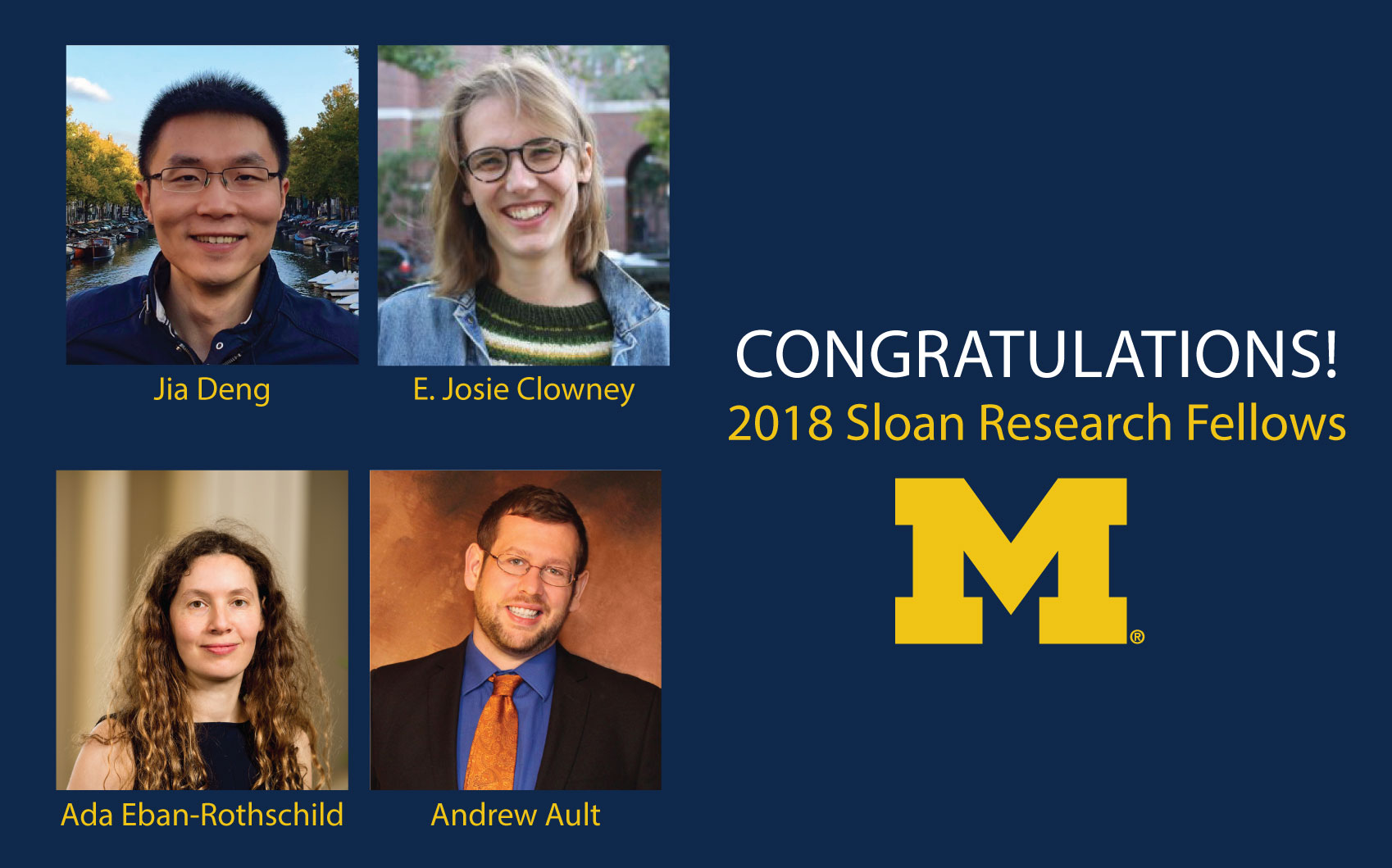 Images of the four researchers named Sloan Fellows
