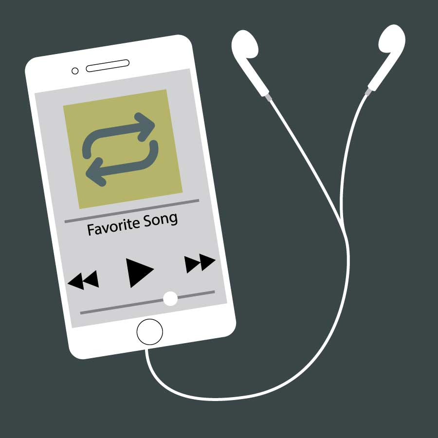 Illustration of an mp3 player on repeat. Illustration credit: Kaitlyn  Beukema