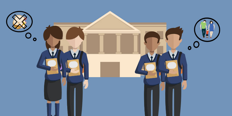 Four children in front of school building. Illustration credit: Ilma Bilic
