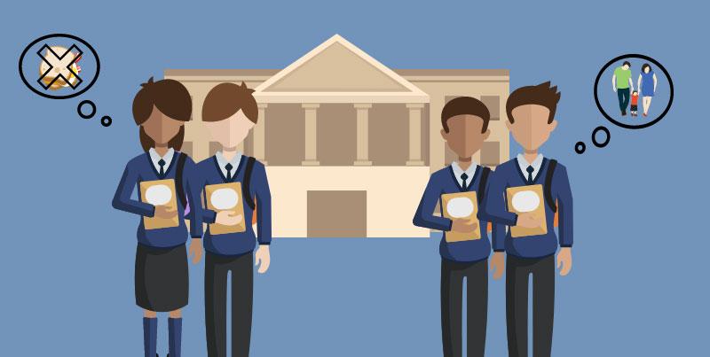 Four children in front of school building. Illustration credit: Ilma Bilic