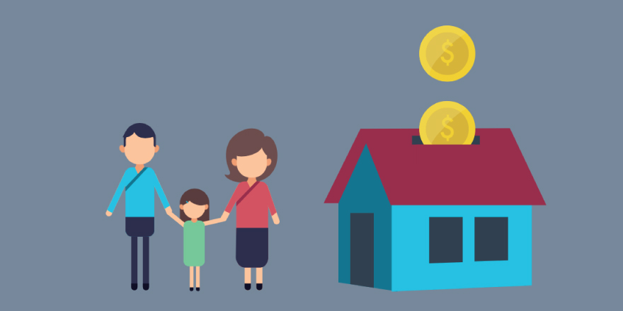 Concept illustration of a family, home and money. Image credit: Kaitlyn Beukema