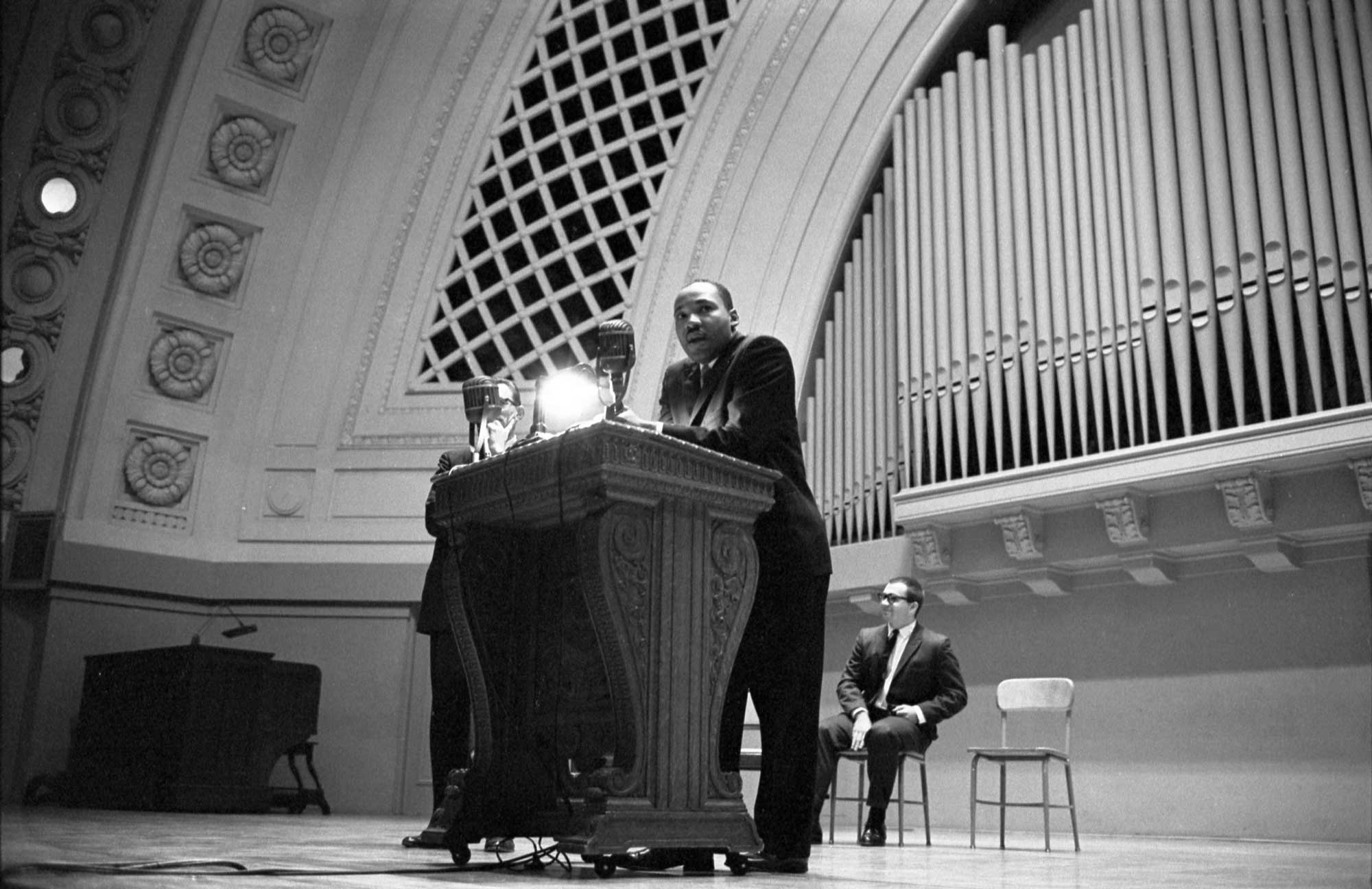 Martin Luther King Jr. spoke at the University of Michigan's Hill Auditorium on  November 5, 1962. Image courtesy: U-M Bentley Historical Library