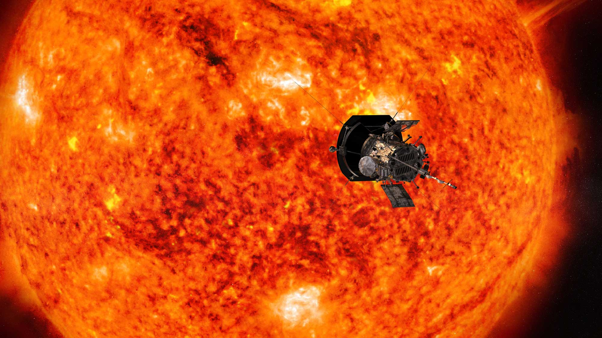 Artist's concept of the Parker Solar Probe spacecraft approaching the sun. In order to unlock the mysteries of the corona, but also to protect a society that is increasingly dependent on technology from the threats of space weather, we will send Parker Solar Probe to touch the sun. Image credit: NASA